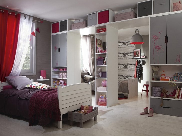 chambre de fille ado moderne deco chambre ado rouge et. Black Bedroom Furniture Sets. Home Design Ideas