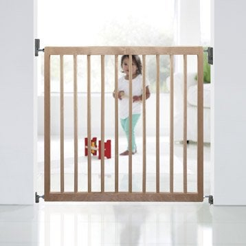 Barrière de sécurité enfant en bois naturel, long. min/max 72/78 cm, H71 cm