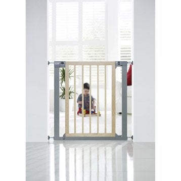 Barrière de sécurité enfant mixte gris/naturel, long. min/max 75/82 cm, H75 cm