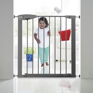 Barrière de sécurité pour enfant en métal gris, long. min/max 72/80 cm, H75 cm