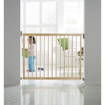 Barrière de sécurité enfant en bois naturel, long. min/max 63.5/106 cm, H71 cm