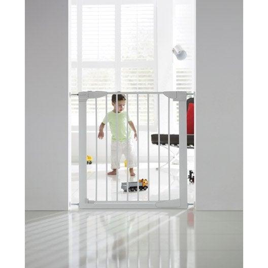 Barrière de sécurité enfant en métal blanc, long. min/max 75/82 cm, H75 cm