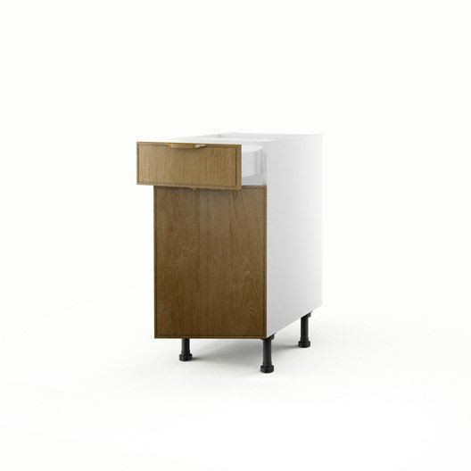 Meuble de cuisine bas ch ne 1 porte 1 tiroir origine h for Meuble cuisine hauteur 70 cm