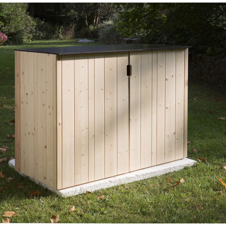 Armoire de jardin bois Vertigo naturelle, l.120 x H.91 x P.56.5 cm ...