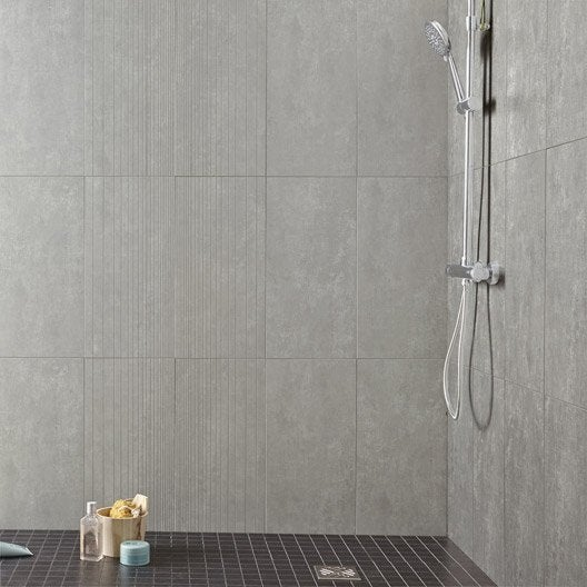Carrelage sol et mur silver tresor x cm leroy merlin - Etancheite mur douche avant carrelage ...