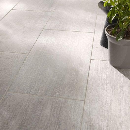 Carrelage sol et mur gris effet bois chalet x cm for Glissance carrelage