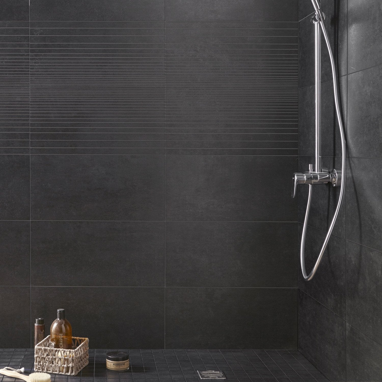 Carrelage sol et mur noir, Trésor l.29.7 x L.59.5 cm