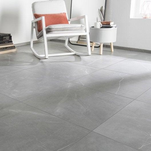 Carrelage sol et mur gris effet marbre rimini x for Carrelage sol salle de bain gris clair