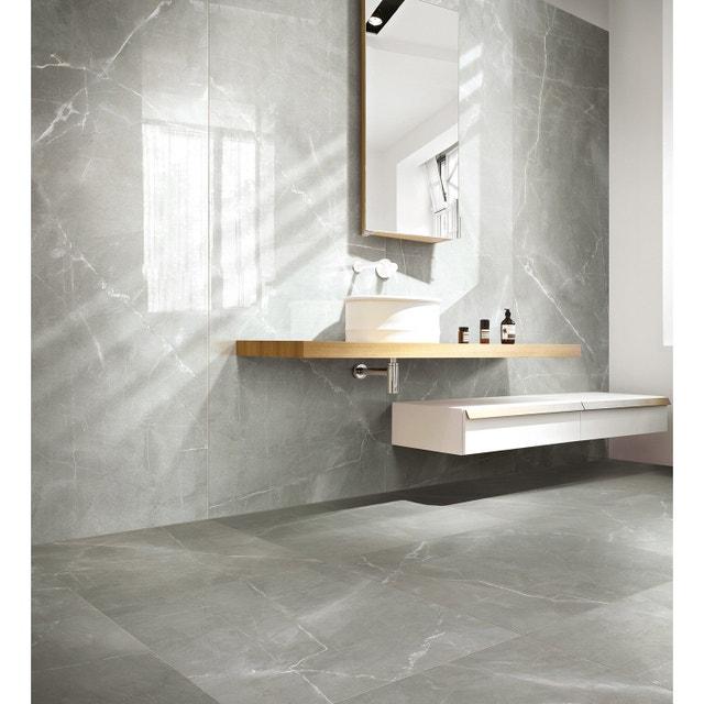 Du carrelage effet marbre gris pour une salle de bains chic leroy merlin - Produit pour nettoyer le marbre ...
