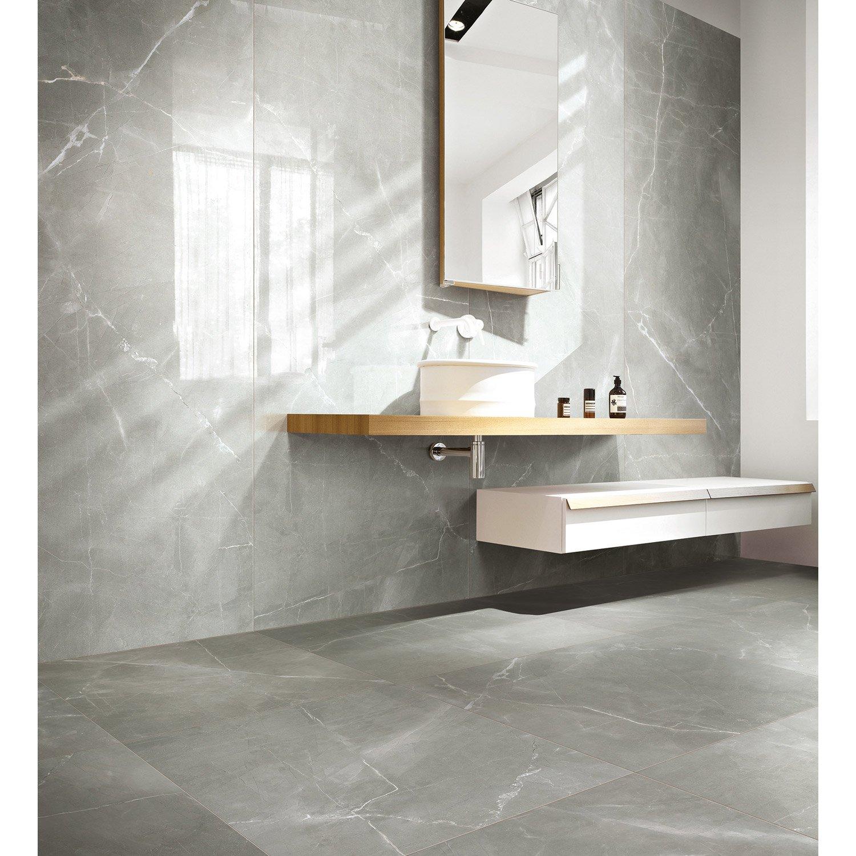 Carrelage Salle De Bain Marbre Noir ~ carrelage sol et mur gris effet marbre rimini l 60 x l 60 cm leroy