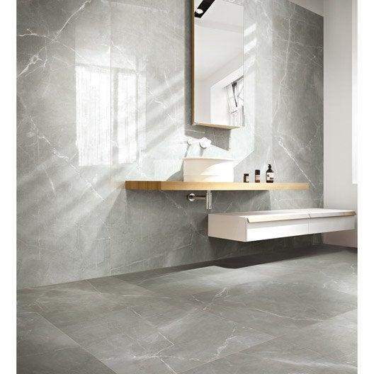 Carrelage sol et mur gris effet marbre rimini x cm leroy merlin - Carrelage gris blanc ...
