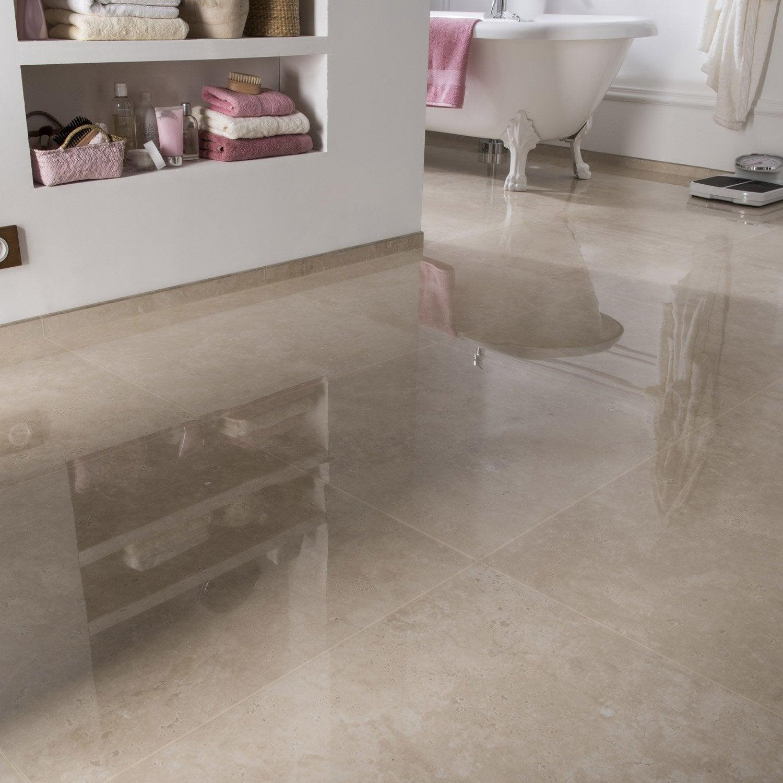 Carrelage sol et mur marfil effet marbre rimini x l - Carrelage sol brillant ...