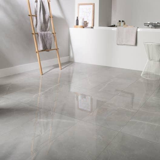 Carrelage sol et mur gris effet marbre rimini x Carrelage sol gris