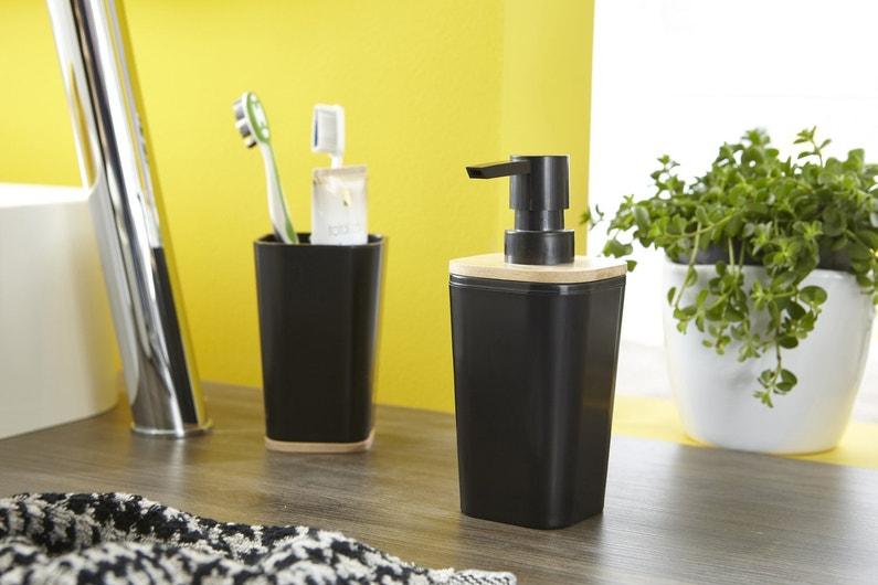 Un distributeur savon noir pour une salle de bains - Distributeur savon salle de bain ...