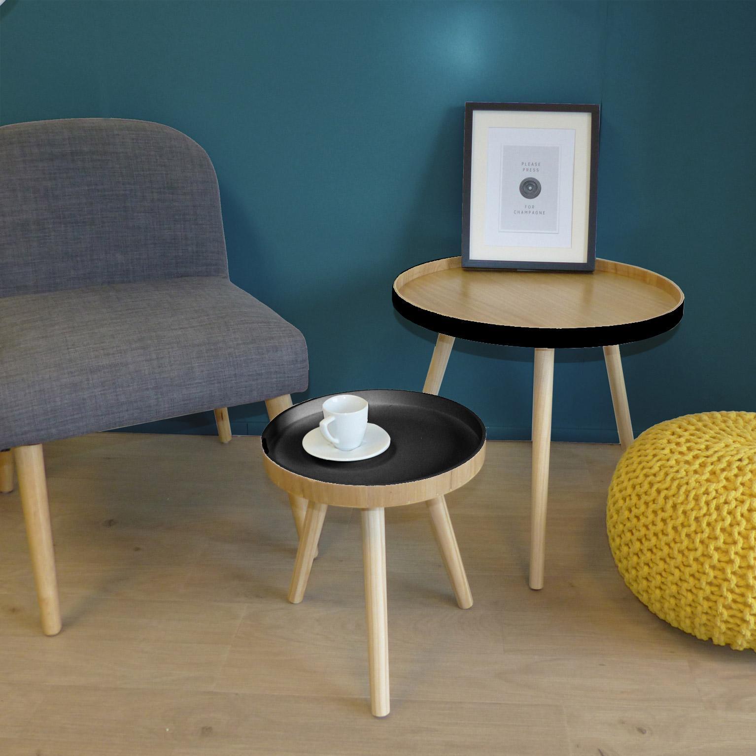 Set de 2 tables Gustave, noir et bois clair, D30cm et D48cm