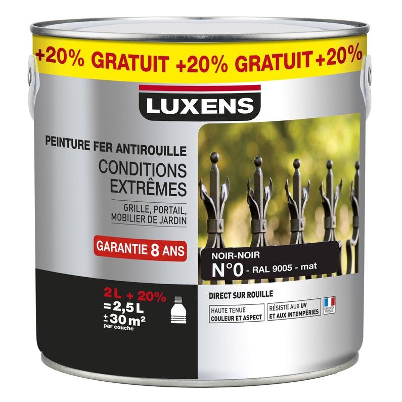 Peinture Fer Extérieur Intérieur Noir Mat Luxens 2 L