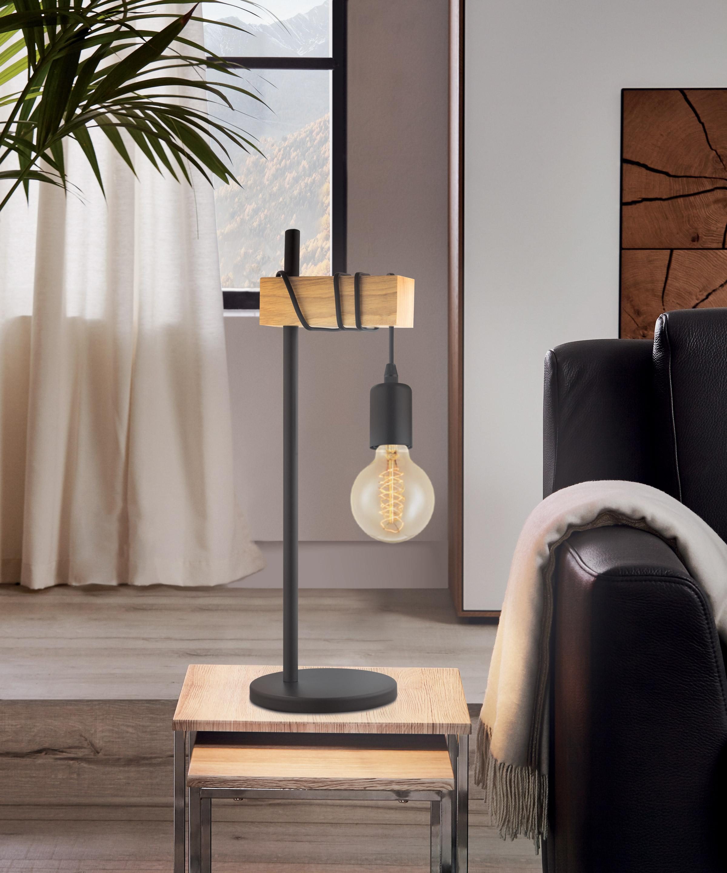Lampe, industriel, métal noir, EGLO Townshend