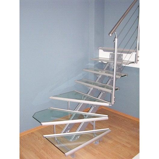 Escalier quart tournant escatwin structure aluminium marche verre leroy merlin - Marche d escalier en aluminium ...