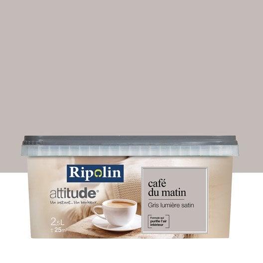 peinture gris lumi re ripolin attitude caf du matin 2 5 l leroy merlin. Black Bedroom Furniture Sets. Home Design Ideas