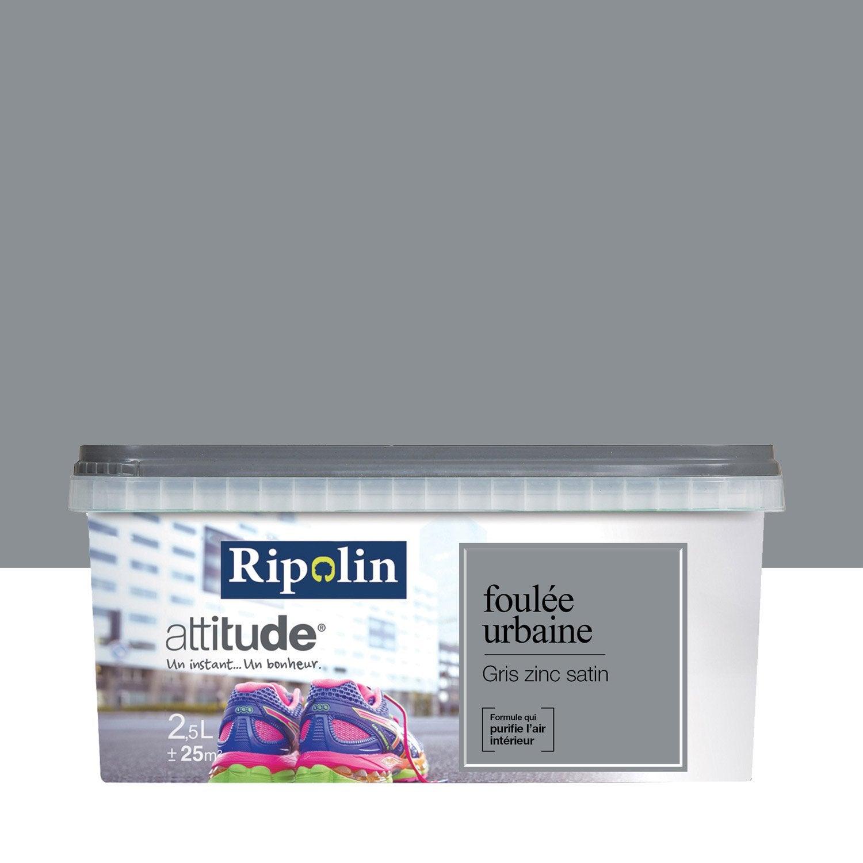 Peinture gris zinc satin RIPOLIN Attitude foulée urbaine 2.5 l ...