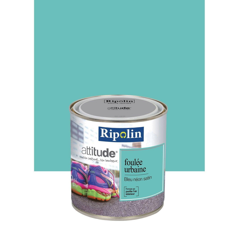 peinture bleu n on satin ripolin attitude foul e urbaine 0 5 l leroy merlin. Black Bedroom Furniture Sets. Home Design Ideas