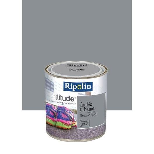 peinture gris zinc ripolin attitude foul e urbaine 0 5 l leroy merlin. Black Bedroom Furniture Sets. Home Design Ideas