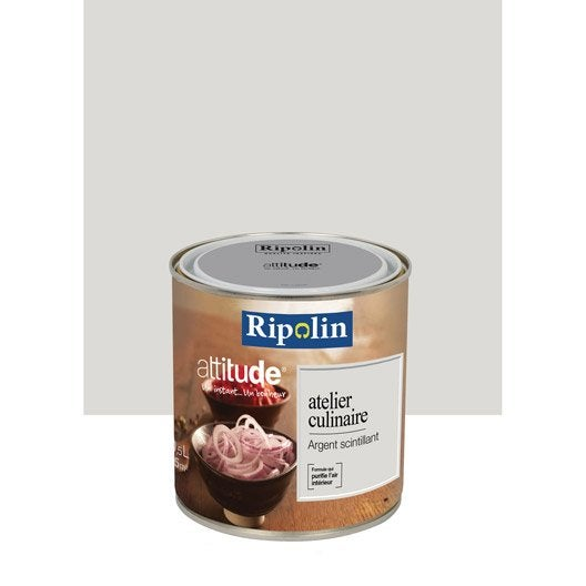 peinture gris argent scintillant ripolin attitude atelier culinaire 0 5 l leroy merlin. Black Bedroom Furniture Sets. Home Design Ideas