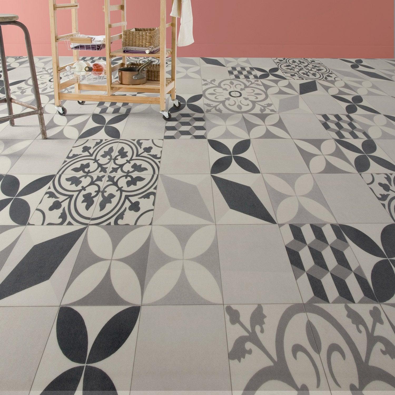 Sol PVC shalimar grey, ARTENS Textile l.33 m | Leroy Merlin - Sol Vinyle Imitation Carreau De Ciment Leroy Merlin
