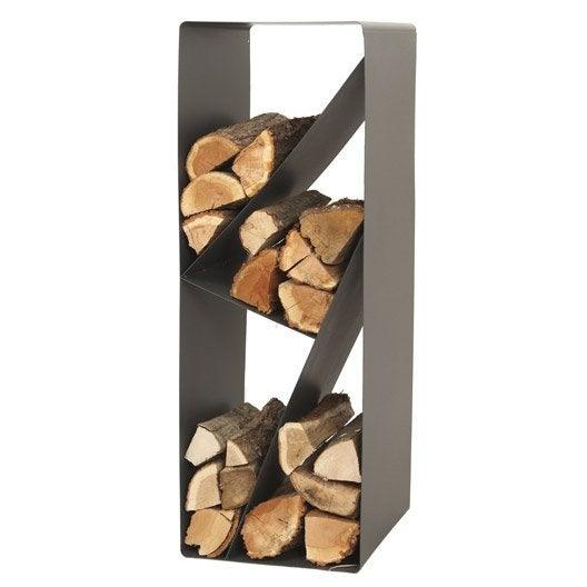 Rangement pour bois acier lemarquier zack 1 3 st re b ches 45 cm max - Rangement bois interieur ...