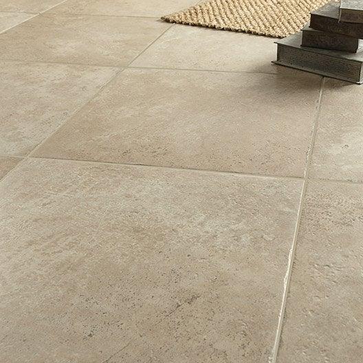 Carrelage sol et mur beige effet pierre tesalia x l for Carrelage effet pierre