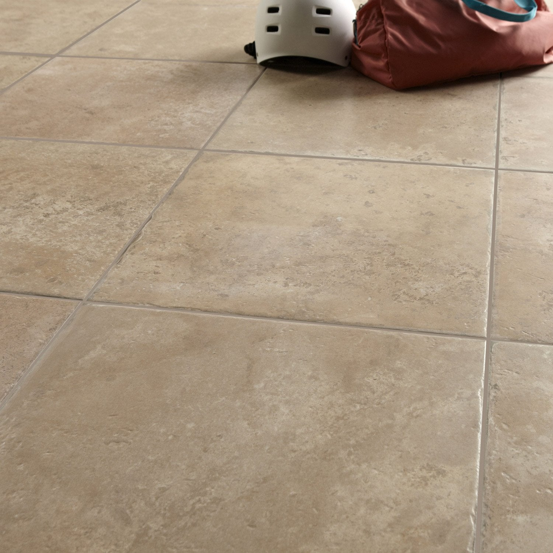 Carrelage sol et mur beige effet pierre tesalia x l for Carrelage sol couleur orange