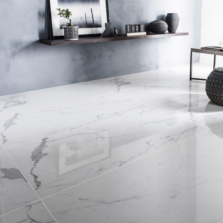 Carrelage Sol Et Mur Intenso Marbre Blanc L.60 X L.120 Cm CERIM