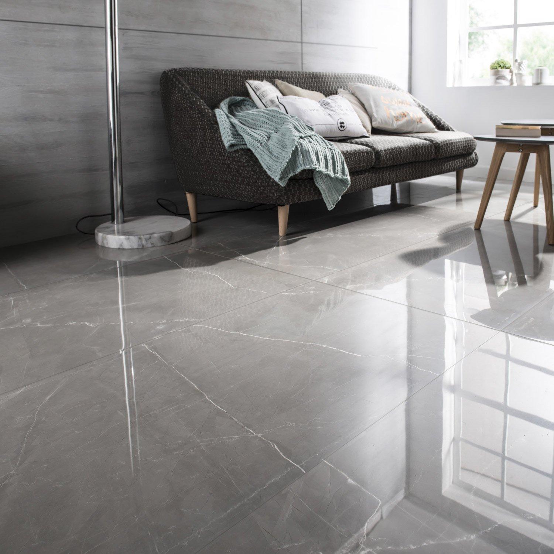 Carrelage Sol Et Mur Gris Effet Marbre Rimini L X L Cm - Carrelage gris brillant