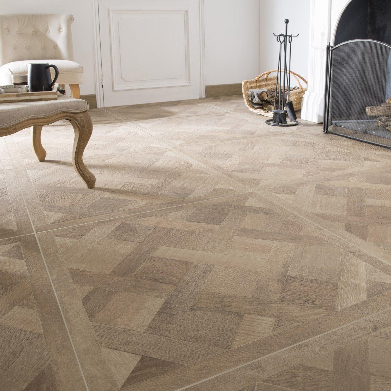 Carrelage sol et mur chene clair effet bois Chambord l.75 x L.75 cm