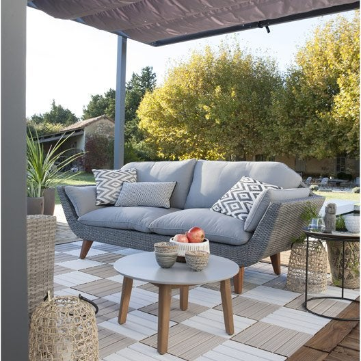 Salon bas de jardin canap fauteuil bas salon de - Salon de jardin bois et resine ...