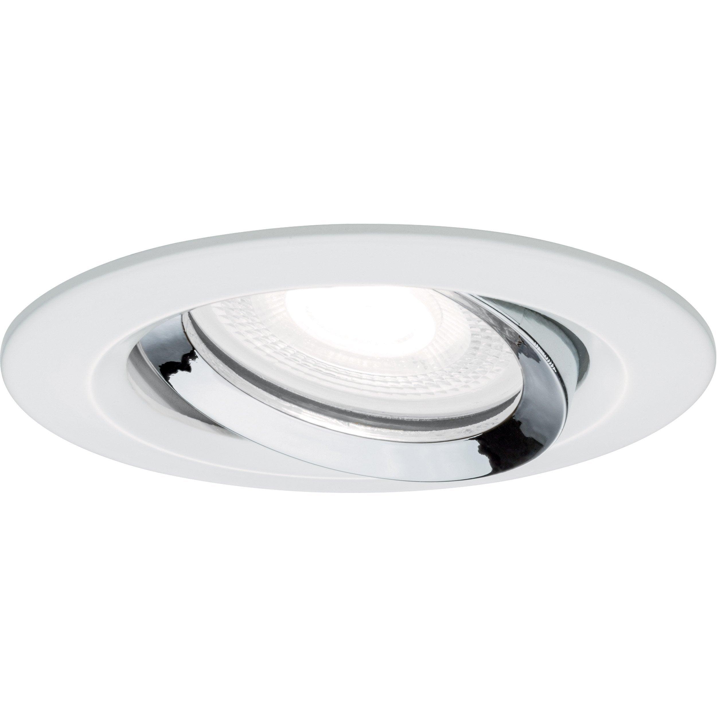Kit 1 spot à encastrer salle de bains orientable GU10 Nova, 4000K rond blanc
