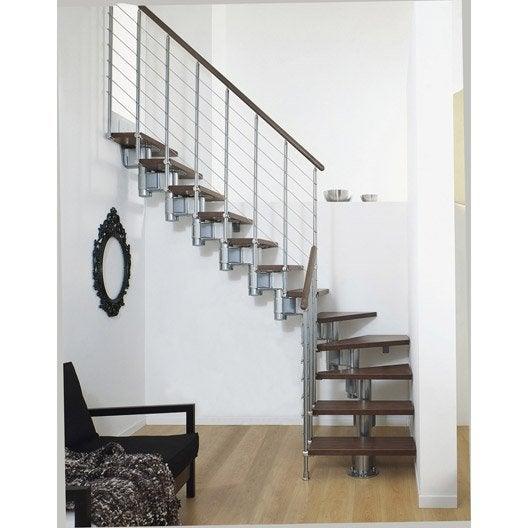 Escalier Long line PIXIMA, modulaire en bois et métal, 12 marches
