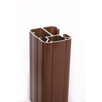 Poteau aluminium en h marron, H.231.5 x l.6.5 x P.5 cm
