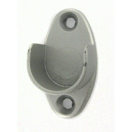 Lot de 2 supports de barre de penderie muraux ouverts gris for Barre de penderie coulissante