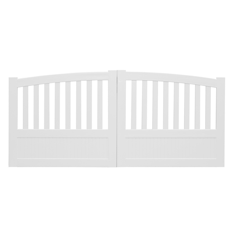 portail battant pvc etrelles blanc naterial cm x cm leroy merlin. Black Bedroom Furniture Sets. Home Design Ideas