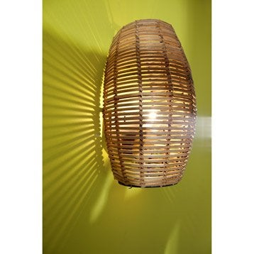 Applique bami bambou 1x60w bambou brun inspire - Luminaire leroy merlin interieur ...