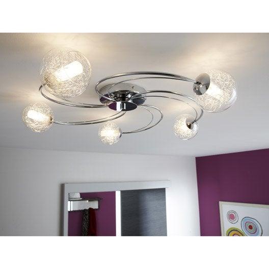 plafonnier altone eglo chrome 33 w leroy merlin. Black Bedroom Furniture Sets. Home Design Ideas