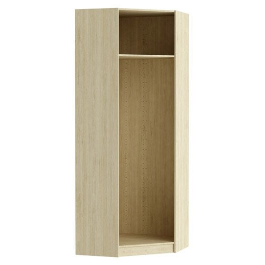 Caisson d 39 angle spaceo home 240 x 89 x 89 cm effet ch ne for Meuble dressing d angle
