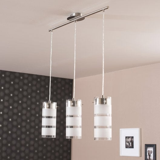 Suspension moderne olvero m tal noir 3 x 7 w eglo leroy for Suspension moderne noir