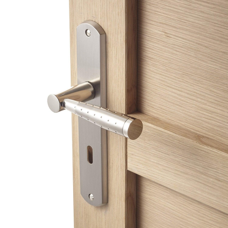 2 poignées de porte nine trou de clé inspire zinc 195 mm