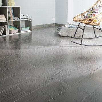 Carrelage sol et mur gris effet bois Norfolk l.15 x L.90 cm