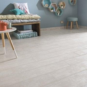 Carrelage sol et mur blanc effet bois Norfolk l.15 x L.90 cm