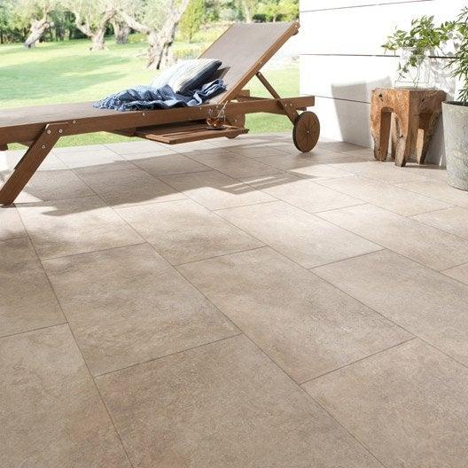 Carrelage sol sable effet pierre palerme x cm leroy merlin - Carrelage exterieur pierre ...