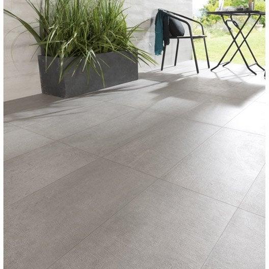 Carrelage sol gris effet béton Houston l.30 x L.60 cm