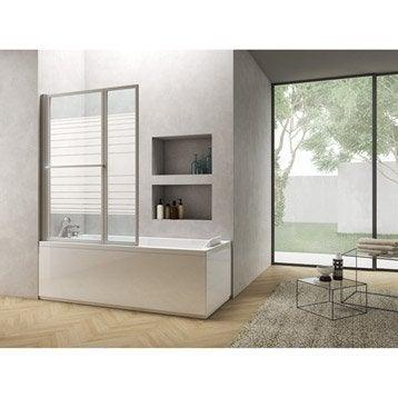 Pare-baignoire 2 volets pivotant pliant H.140 x l.106 cm verre sérigraphié Lift